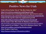 positive news for utah