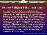 restored higher fha loan limits