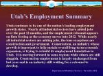 utah s employment summary
