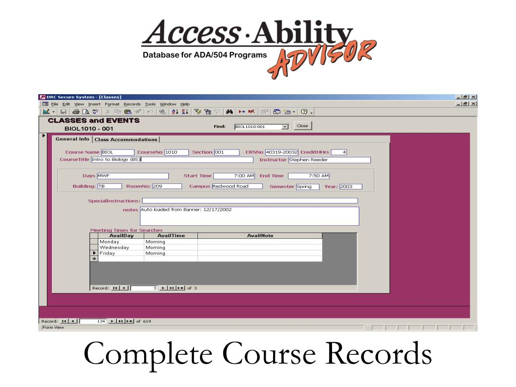 Complete Course Records