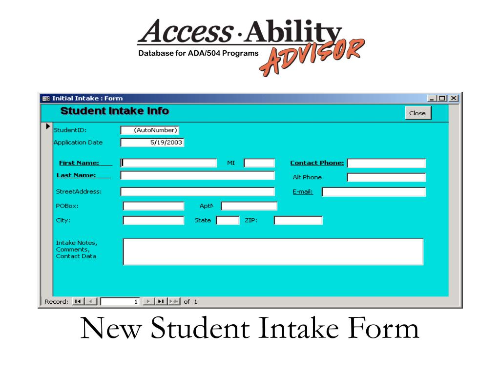 New Student Intake Form