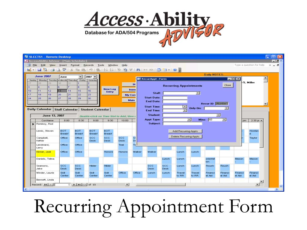 Recurring Appointment Form