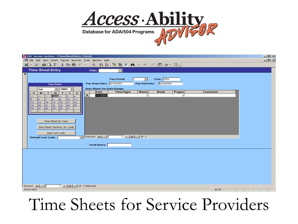 Time Sheets for Service Providers