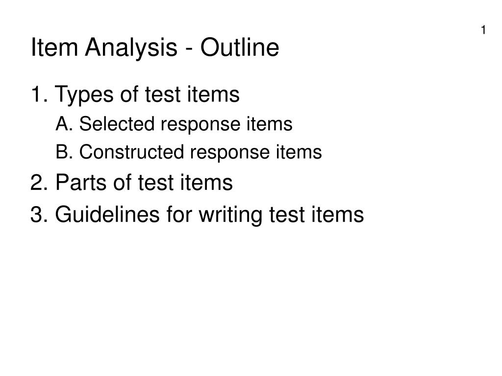 item analysis outline l.