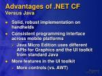 advantages of net cf versus java
