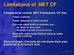limitations of net cf
