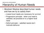 behavioral management hierarchy of human needs