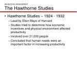 behavioral management the hawthorne studies