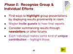 phase 5 recognize group individual efforts
