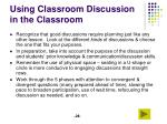using classroom discussion in the classroom