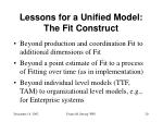 lessons for a unified model the fit construct