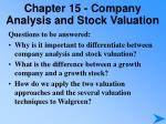 chapter 15 company analysis and stock valuation