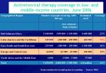 antiretroviral therapy coverage in low and middle income countries june 2006
