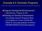 example 3 domestic programs