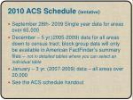 2010 acs schedule tentative