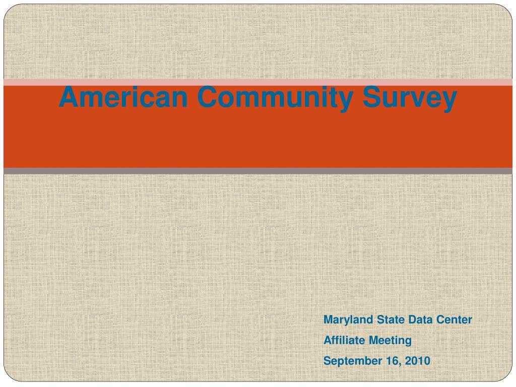 american community survey l.