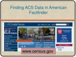 finding acs data in american factfinder