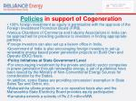 policies in support of cogeneration63