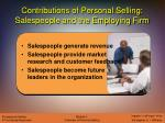 contributions of personal selling salespeople and the employing firm