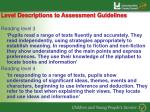 level descriptions to assessment guidelines