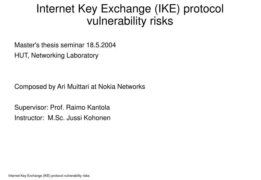 internet key exchange ike protocol vulnerability risks l.