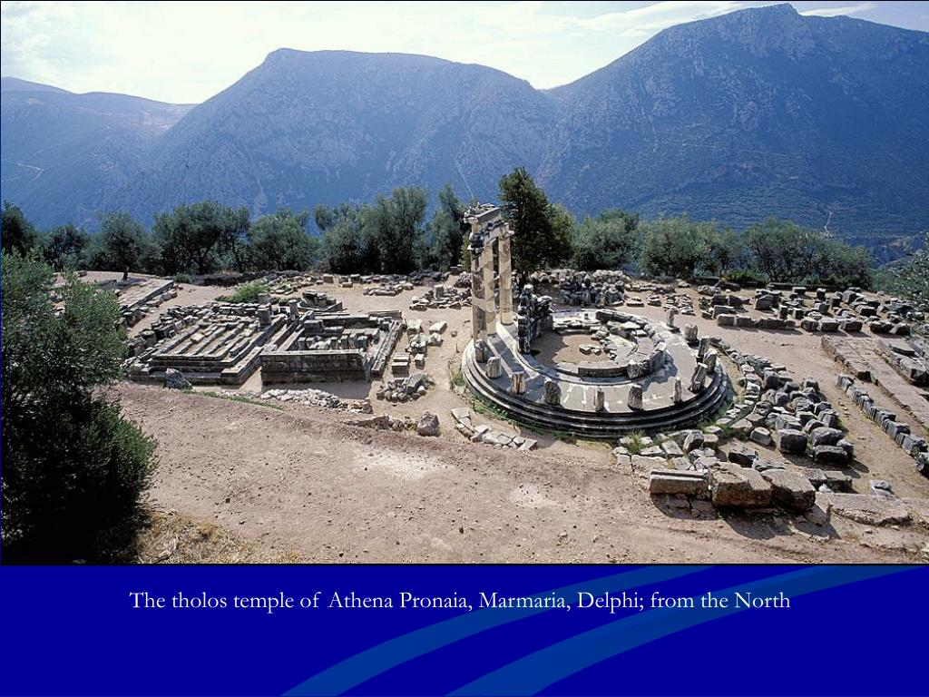 The tholos temple of Athena Pronaia, Marmaria, Delphi; from the North
