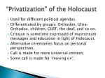privatization of the holocaust