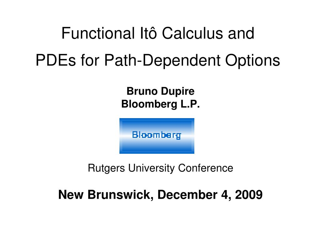 functional it calculus and pdes for path dependent options l.