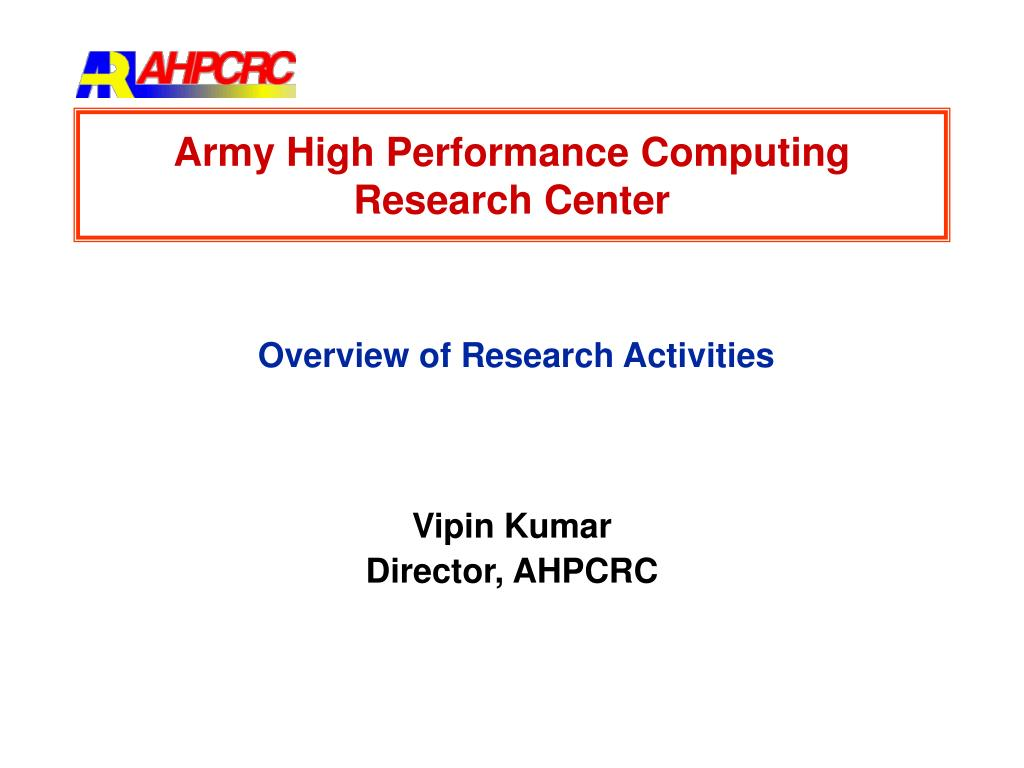 army high performance computing research center l.