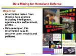 data mining for homeland defense