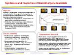 synthesis and properties of nanoenergetic materials