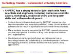 technology transfer collaboration with army scientists
