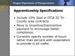 apprenticeship specifications
