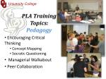 pla training topics pedagogy