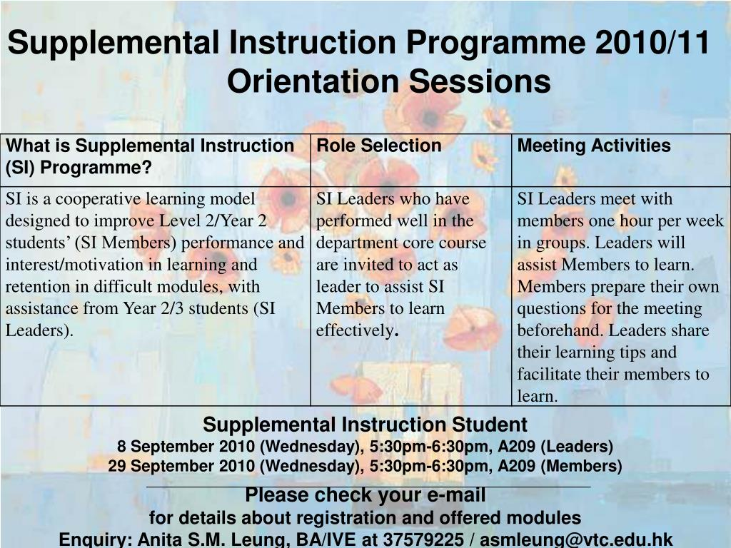 supplemental instruction programme 2010 11 orientation sessions l.