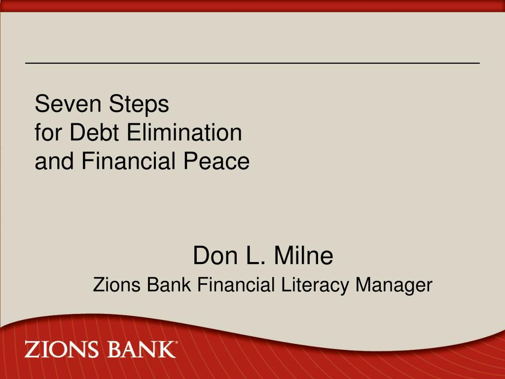 seven steps for debt elimination and financial peace l.