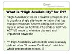 what is high availability for e1