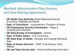 matched administrative data sources and data sharing agreements