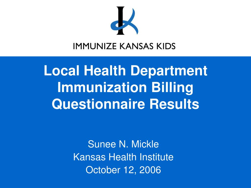 local health department immunization billing questionnaire results l.