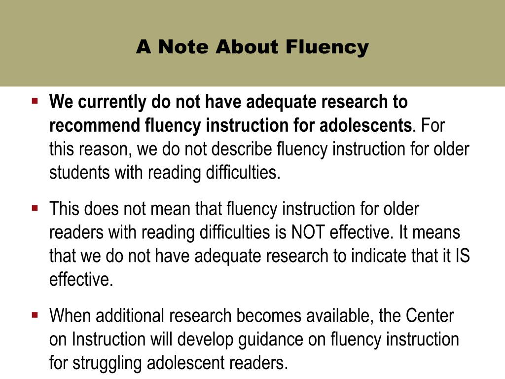 A Note About Fluency