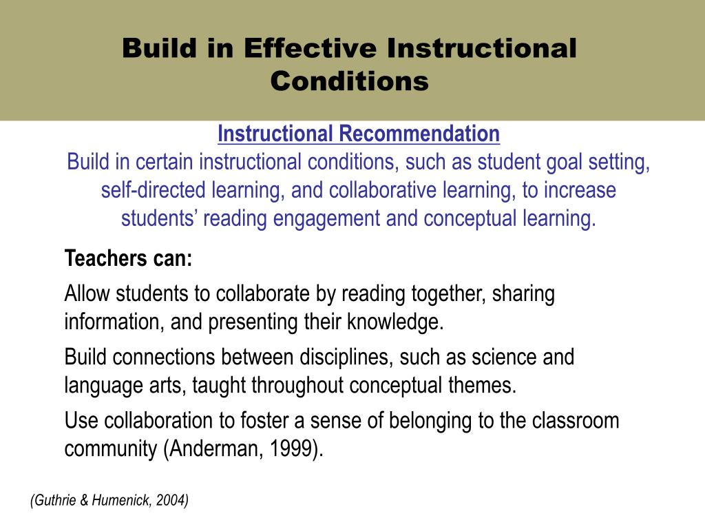 Build in Effective Instructional Conditions