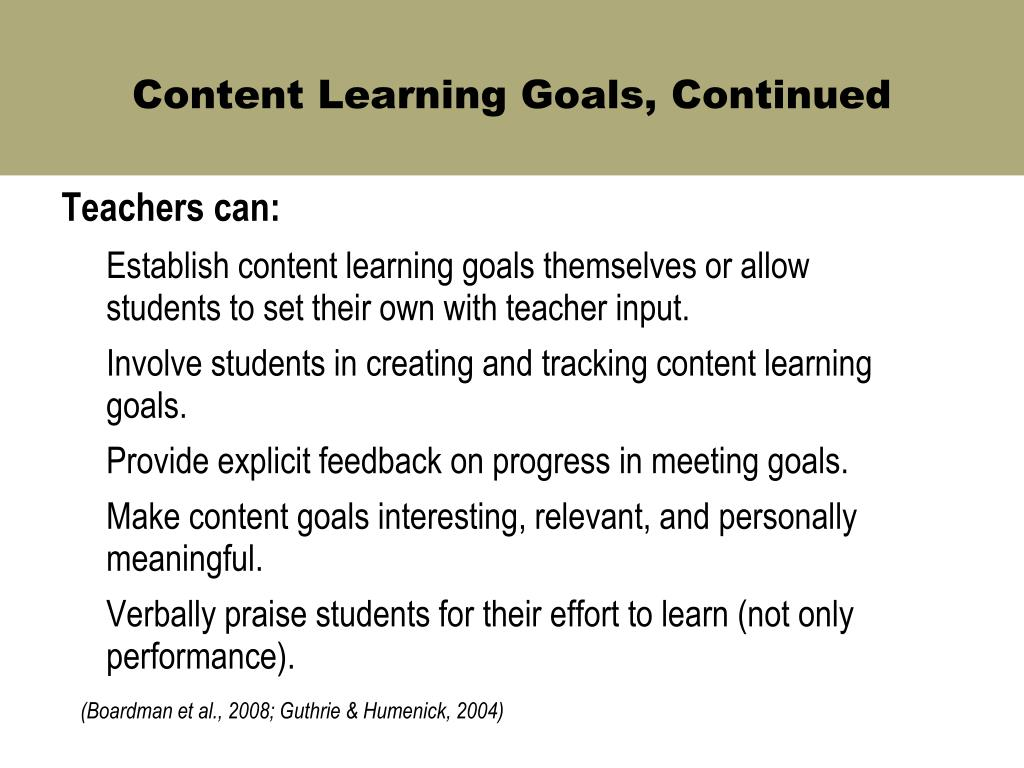 Content Learning Goals, Continued