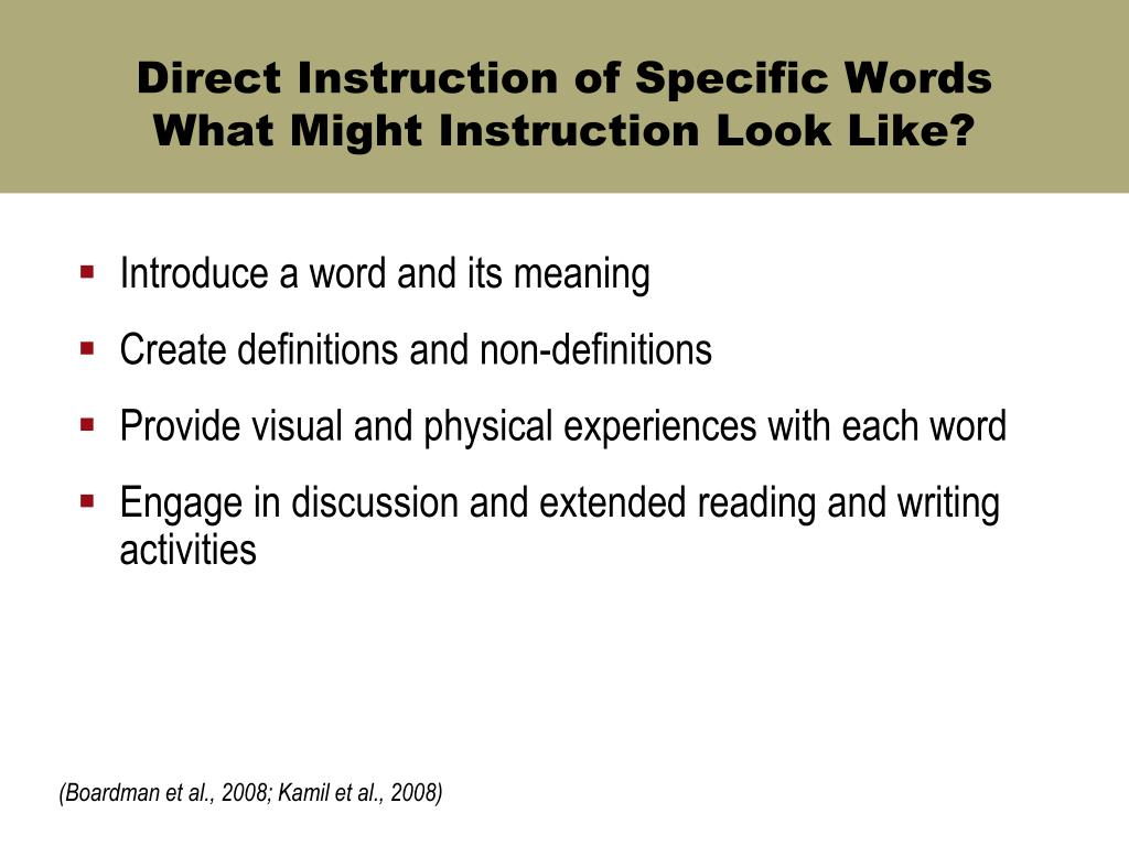 Direct Instruction of Specific Words