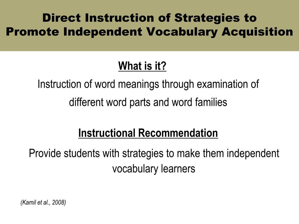 Direct Instruction of Strategies to