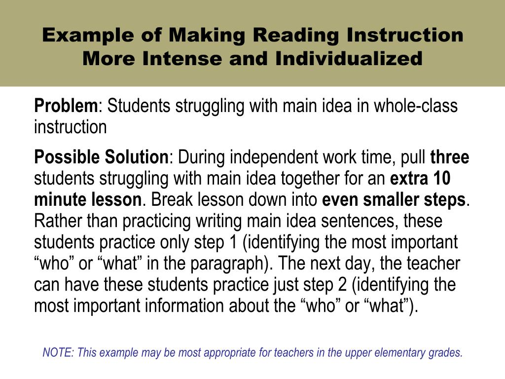 Example of Making Reading Instruction More Intense and Individualized