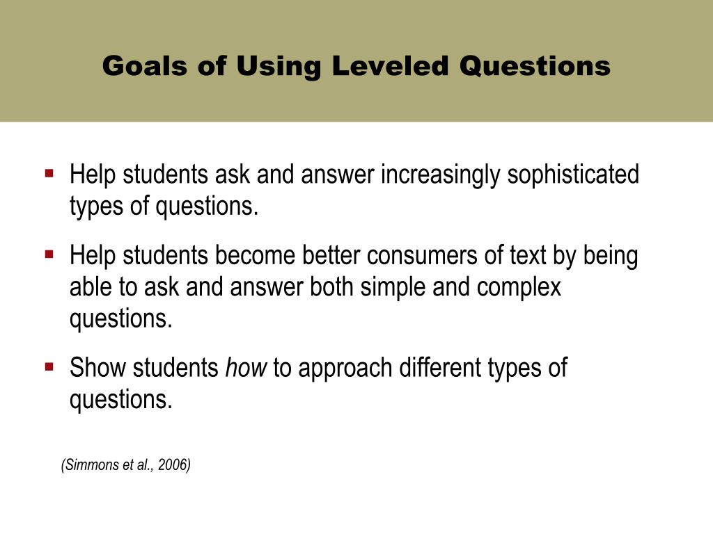 Goals of Using Leveled Questions