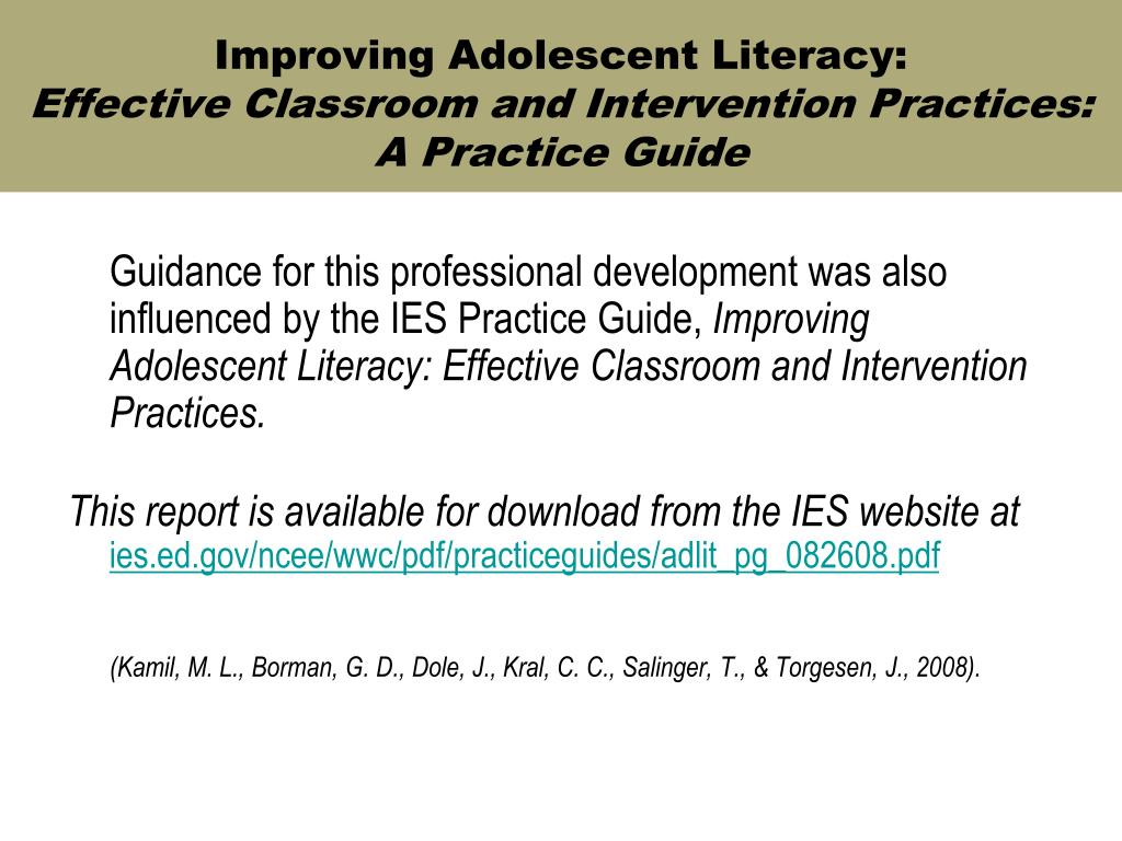 Improving Adolescent Literacy: