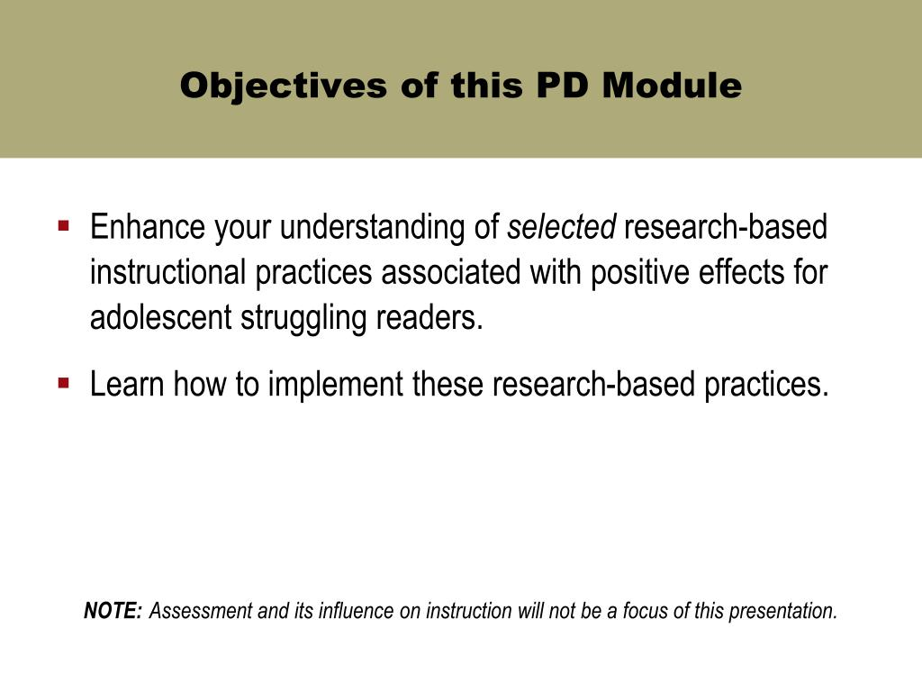 Objectives of this PD Module