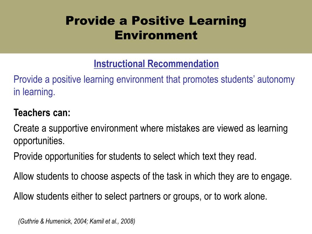 Provide a Positive Learning Environment