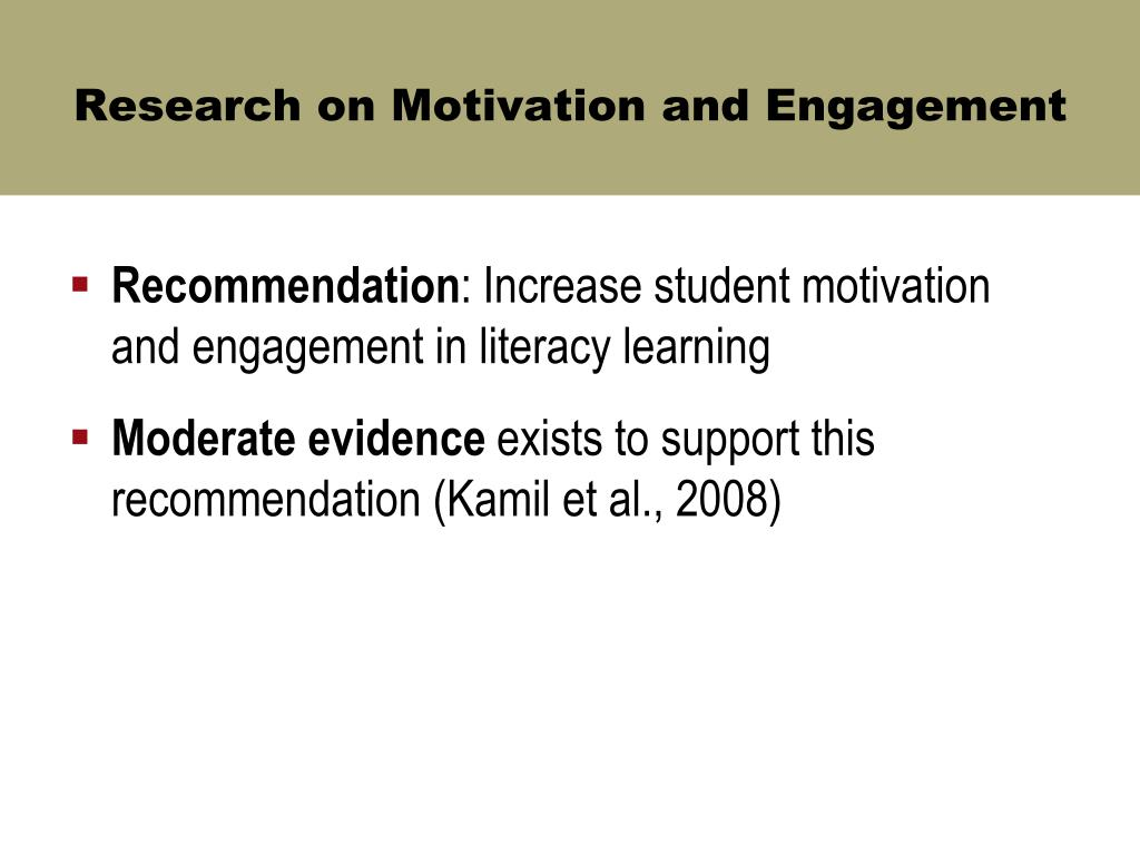 Research on Motivation and Engagement